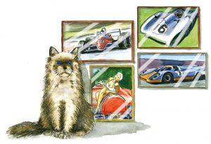 Katze vor Bilderwand